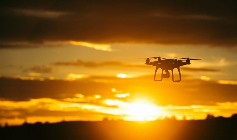 Drone at sunset