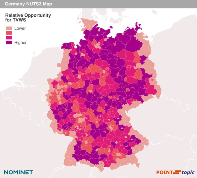 Map showing TVWS relative opportunity in Germany