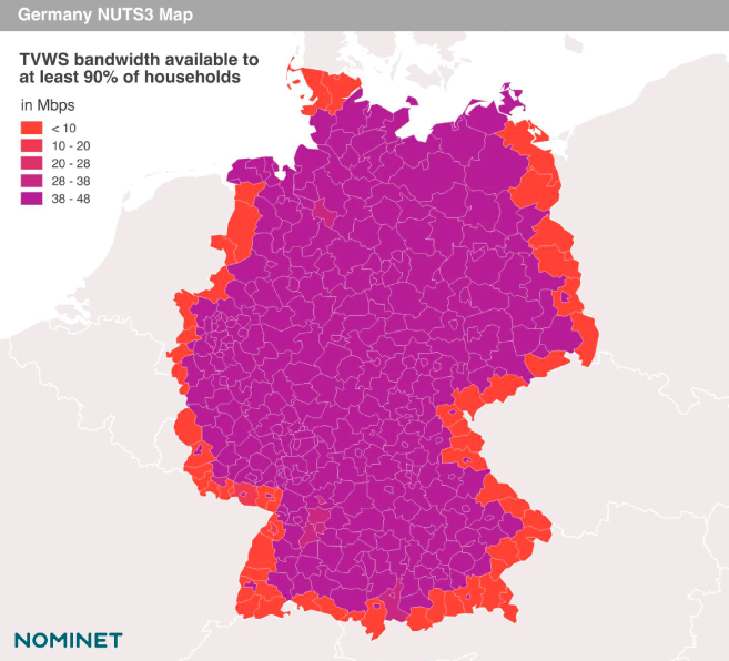 Map of Germany showing TVWS availability