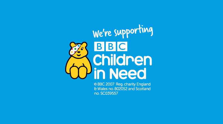 Children in Need logo on blue background