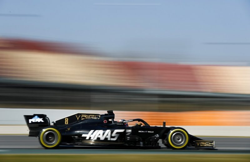 Haas F1 car driving fast