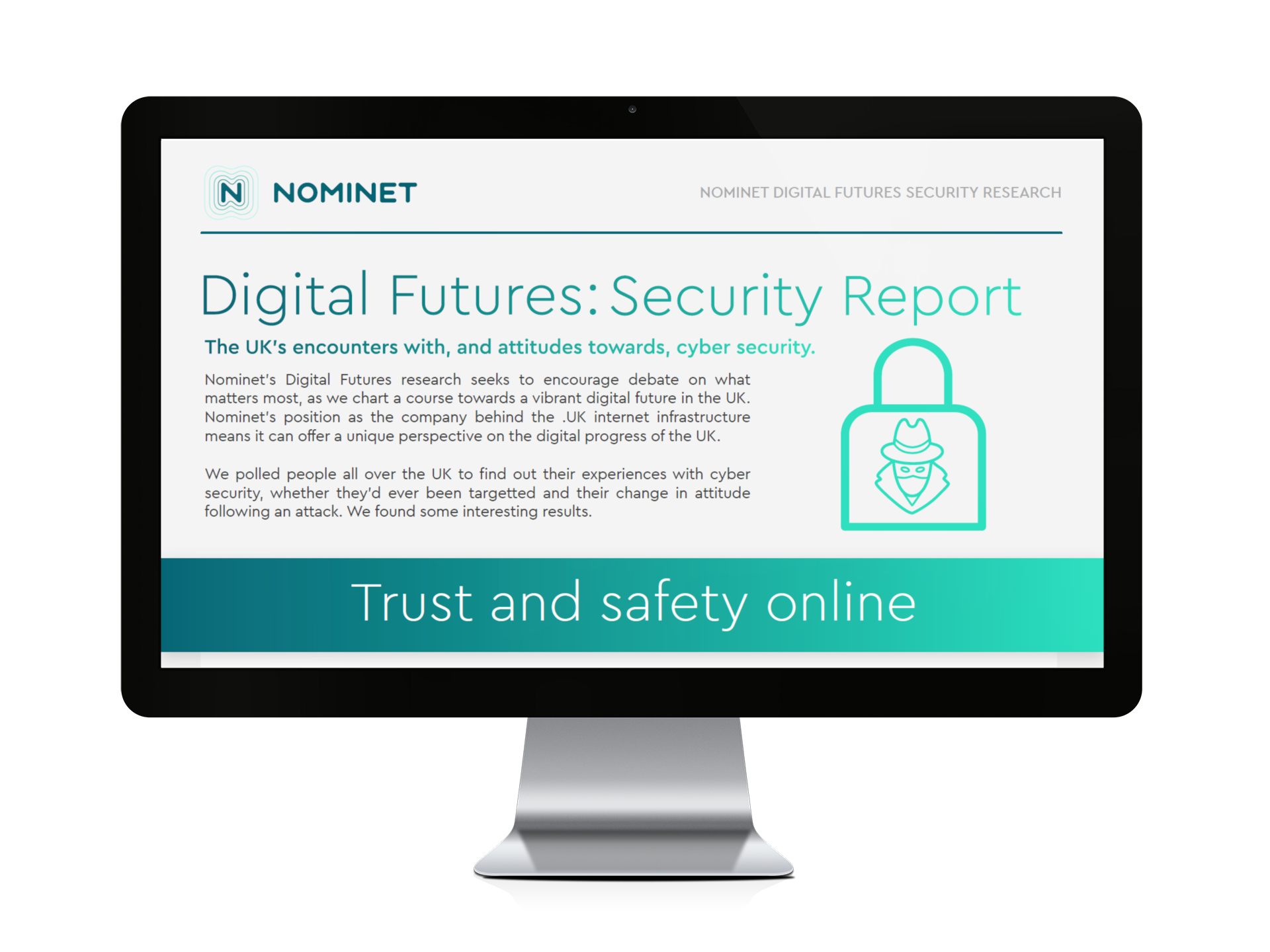 Computer monitor showing 'Digital Futures: Security Report'
