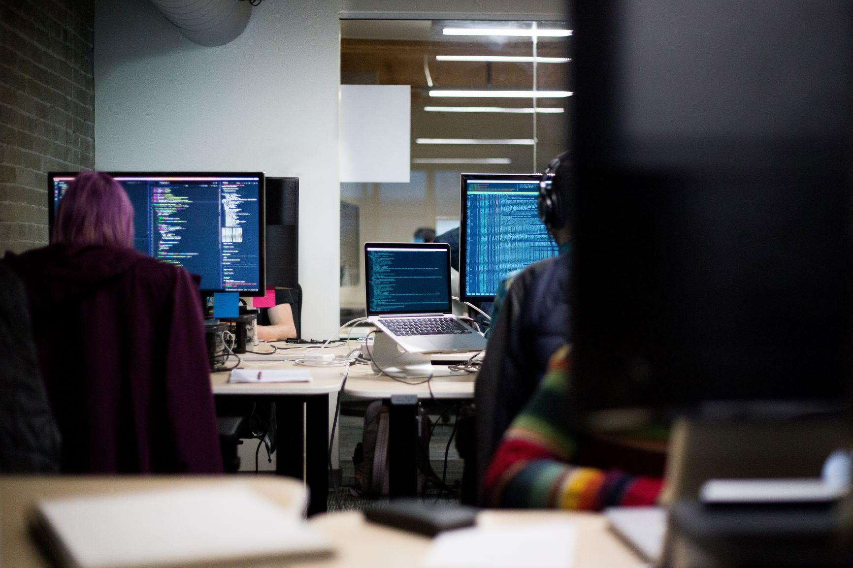 coders sat at computer screens