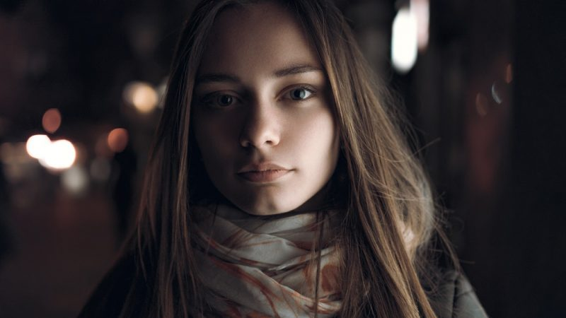 Girl standing on street