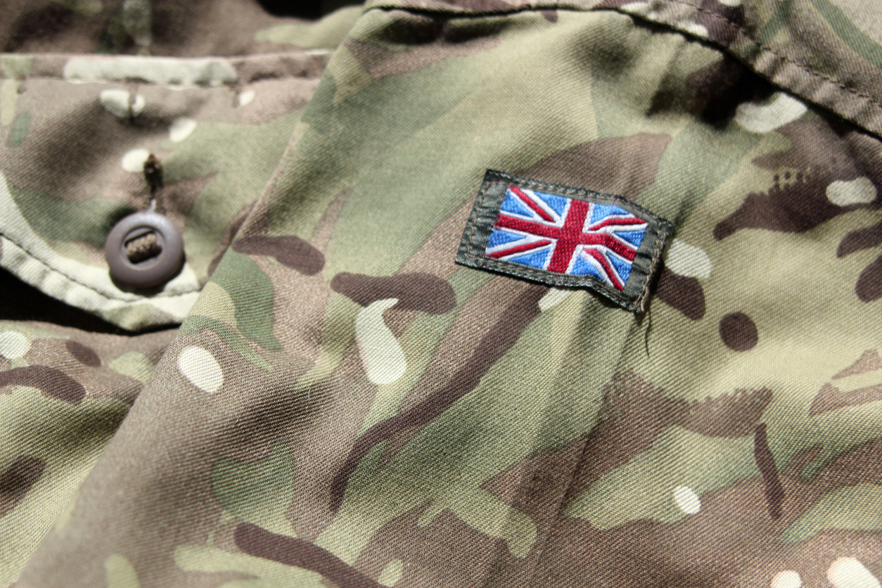 Close up of UK military uniform with union flag