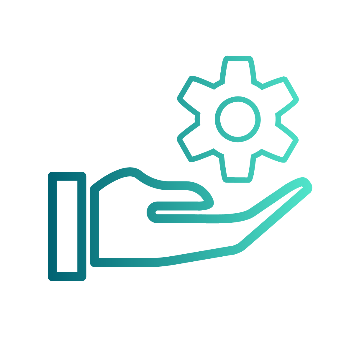 Hand with a settings cog icon