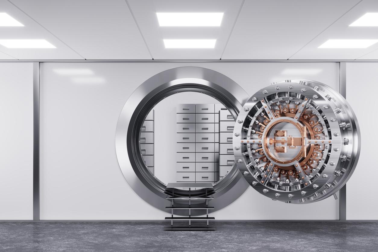 Bank vault door in premise bank.